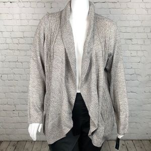 Natural Heather Curved Hem Open Front Cardigan 3X
